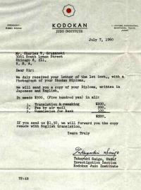 Kodokan Judo Institute letter