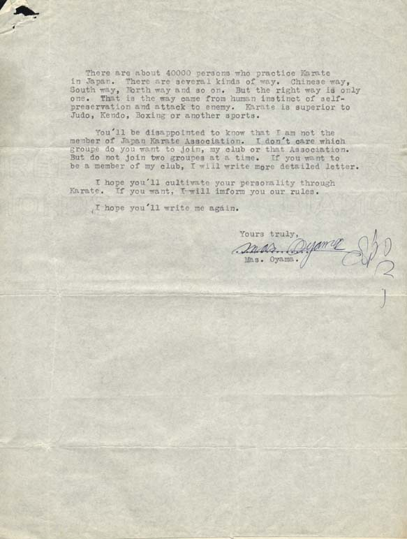 Mas Oyama letter dated July 10, 1961 page 2