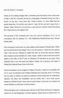 Yumio Nawa translated letter Page 1