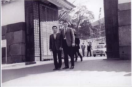 My father (on right) and Kaicho Nakamura standing at the newly completed Budokan Building