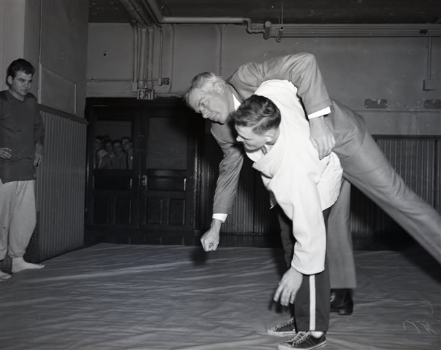 My father showing the late actor Lee Marvin a judo throw
